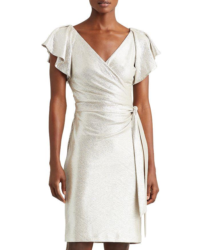 Ralph Lauren - Metallic Crossover V Neck Dress