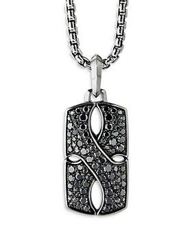 David Yurman - Sterling Silver Armory® Tag with Pavé Black Diamonds