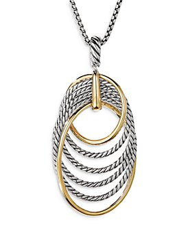 """David Yurman - Sterling Silver DY Origami Pendant Necklace with 18K Yellow Gold, 32"""""""