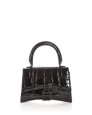 Balenciaga Leathers HOURGLASS MINI EMBOSSED LEATHER TOP HANDLE BAG