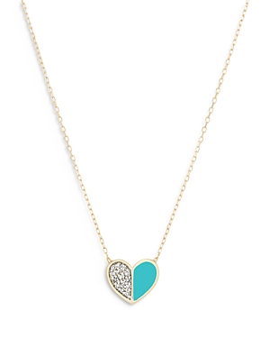 14K Yellow Gold Diamond & Turquoise Ceramic Heart Pendant Necklace