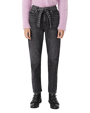 Maje PARIOBELT HIGH-WAISTED JEANS WITH DIAMANTE BELT IN ANTHRACITE