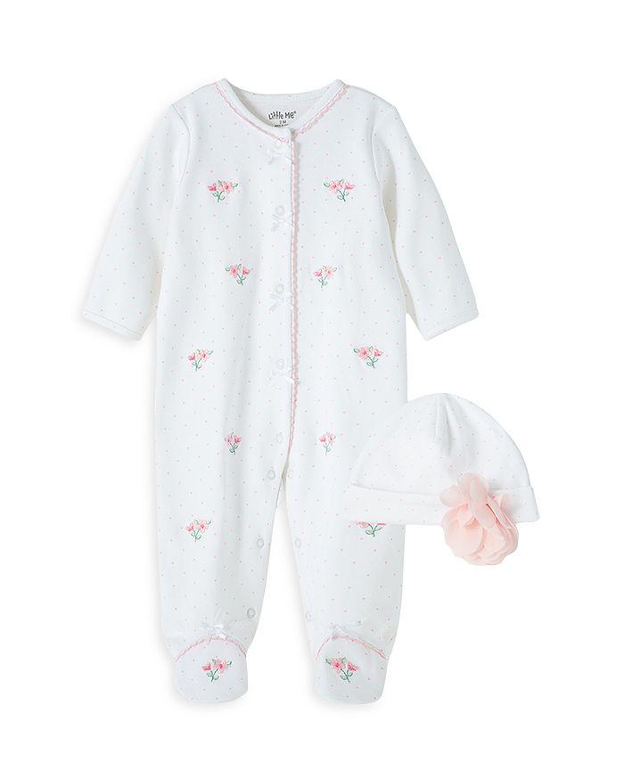 Little Me - Girls' Floral Footie & Hat Set - Baby