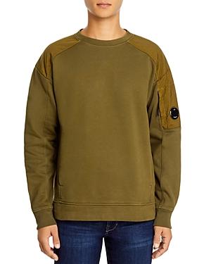 C.p. Company Garment Dyed Fleece Mixed Lens Crew Sweatshirt-Men