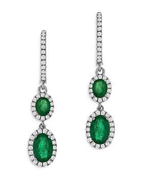 Bloomingdale's - Emerald & Diamond Drop Earrings in 14K White Gold - 100% Exclusive