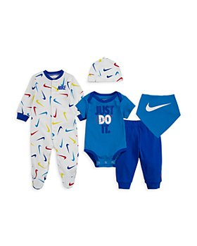 Nike - 5-Pc. Swooshfetti Cotton Footie, Bodysuit, Pants, Hat & Bib Set - Baby