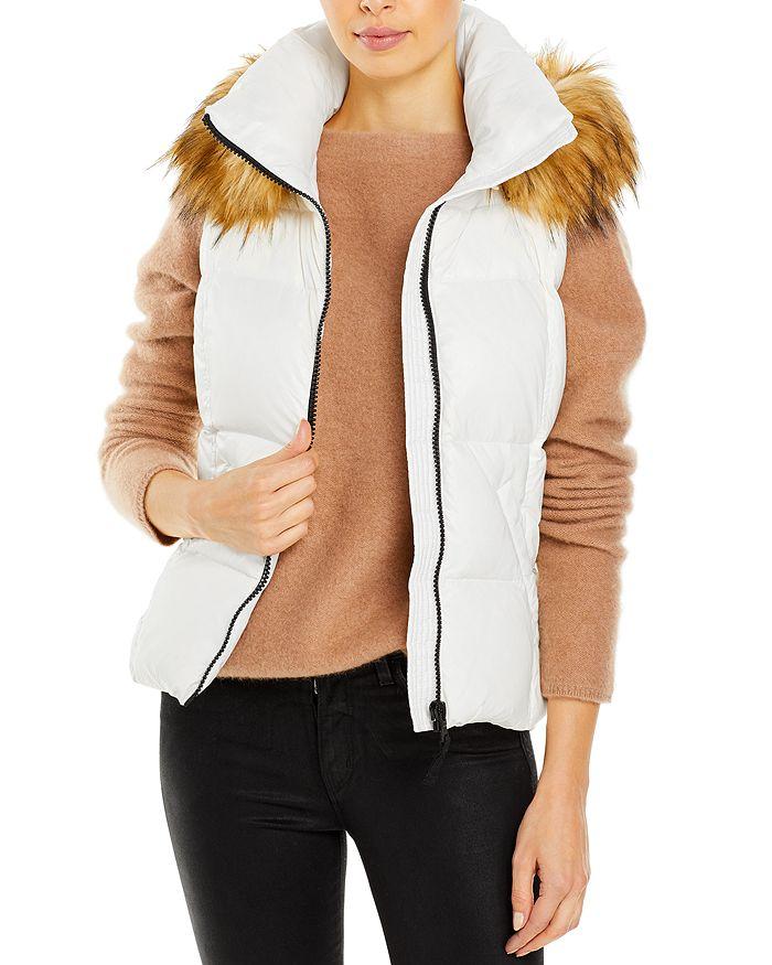 AQUA - Faux Fur-Trim Hooded Puffer Vest - 100% Exclusive