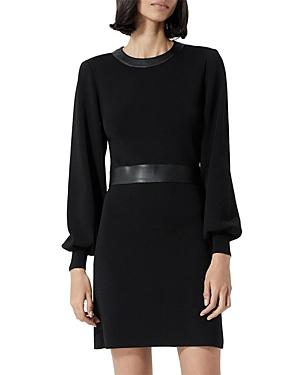 The Kooples FAUX LEATHER TRIM KNIT DRESS