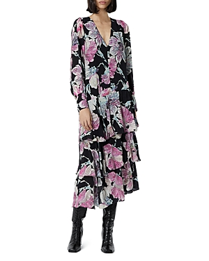 The Kooples Floral Print Beaded Midi Dress