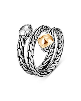JOHN HARDY - Sterling Silver & 18K Yellow Gold Classic Chain Hammered Wrap Ring