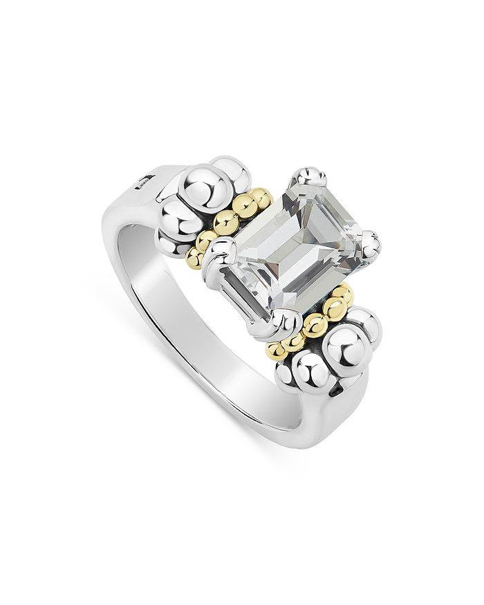 LAGOS - Sterling Silver & 18K Yellow Gold Glacier White Topaz Ring