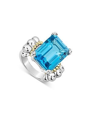 Lagos STERLING SILVER & 18K YELLOW GOLD GLACIER BLUE TOPAZ RING