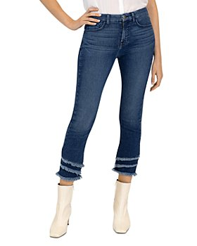 7 For All Mankind - Frayed Cropped Jeans in Blue Haze