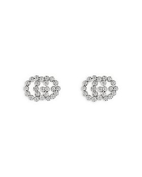 Gucci - 18K White Gold Running GG Diamond Stud Earrings