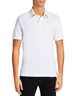 Versace Jeans Couture V-Emblem Logo Collar Slim Fit Polo Shirt-Men