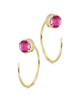 Bloomingdale's - Pink Tourmaline Stud and Front Back Hoop Earrings in 14K Yellow Gold - 100% Exclusive