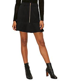 Whistles - Zip Front Ponte Peplum Mini Skirt