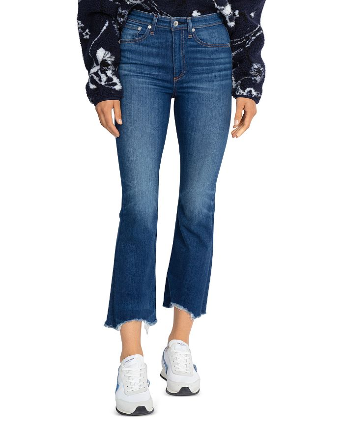 rag & bone - Nina High-Rise Flare Frayed Ankle Jeans