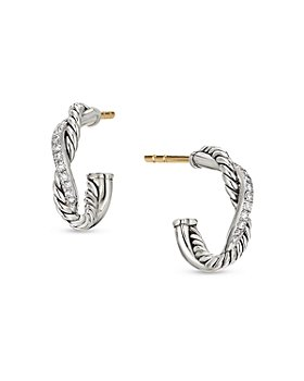 David Yurman - Sterling Silver Petite Infinity Huggie Hoop Earring with Diamonds