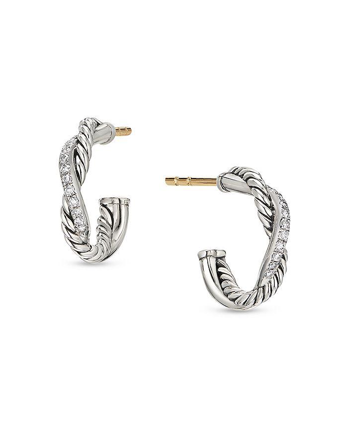David Yurman - Sterling Silver Petite Infinity Huggie Hoop Earring with Diamonds