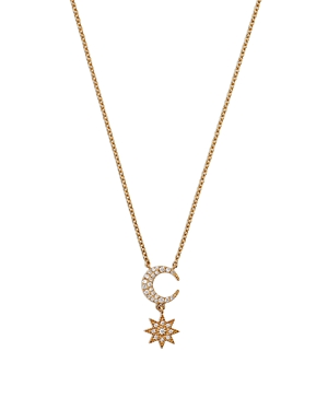 18K Yellow Gold Galaxia Diamond Moon and Star Pendant Necklace