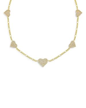 Adina Jewels Figaro Chain and Pave Heart Choker Necklace, 12