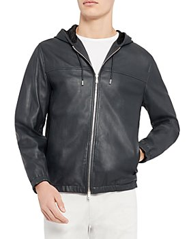 Theory - Grayson Semi Shine Hooded Leather Jacket