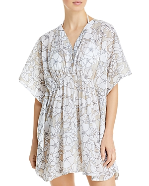 Etched Floral-Print Butterfly Caftan Swim Cover-Up