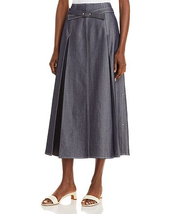 Jason Wu - Denim Belted A-Line Midi Skirt
