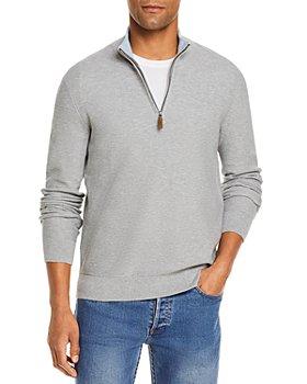 The Men's Store at Bloomingdale's - Tipped Textured Birdseye Half Zip Sweater - 100% Exclusive