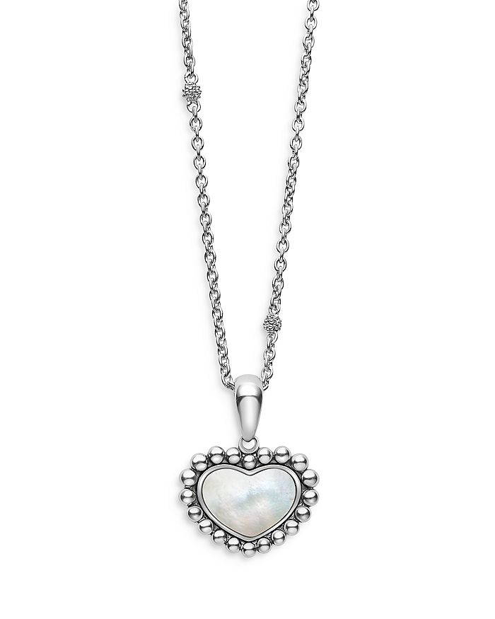 """LAGOS - Sterling Silver Maya Mother of Pearl Inlay Heart Pendant Necklace, 16-18"""""""