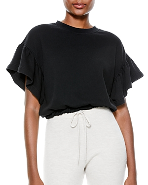 Alice and Olivia Joline Ruffle Sleeve Cropped Sweatshirt