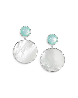 Ippolita STERLING SILVER WONDERLAND STONE & SHELL SNOWMAN EARRINGS IN CELERY DOUBLET & MOTHER-OF-PEARL SLICE