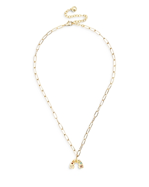 Baublebar ROY MULTICOLOR CRYSTAL RAINBOW PENDANT NECKLACE IN GOLD TONE, 16-19
