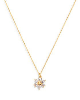 "kate spade new york - First Bloom Cubic Zirconia Flower Mini Pendant Necklace in Gold Tone, 16""-19"""