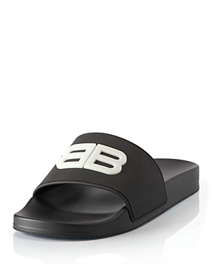 Balenciaga WOMEN'S BB FLUORESCENT POOL SLIDE SANDALS