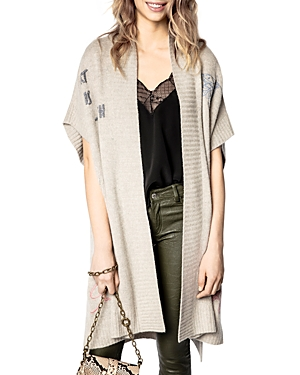 Zadig & Voltaire INDIANY EMBROIDERED CASHMERE SHORT SLEEVE CARDIGAN