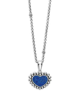 """LAGOS - Sterling Silver Maya Lapis Heart Pendant Necklace, 16-18"""""""