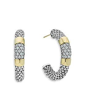 LAGOS - Sterling Silver & 18K Gold High Bar Diamond Huggie Hoop Earrings - 100% Exclusive