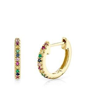 Moon & Meadow - 14K Yellow Gold Rainbow Gemstone Huggie Hoop Earrings