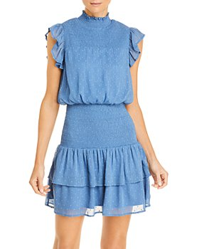 AQUA - Ruffle Short Sleeve Smocked Mini Dress - 100% Exclusive