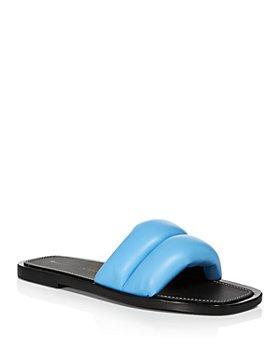 Proenza Schouler - Women's Patos Gold Tone Medallion Leather Slide Sandals