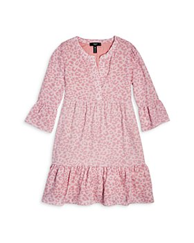 AQUA - Girls' Leopard Print Tiered Crepe Ruffle Babydoll Dress - Big Kid