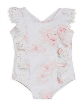 Miniclasix - Girls' Floral Ruffled One-Piece Swimsuit - Baby