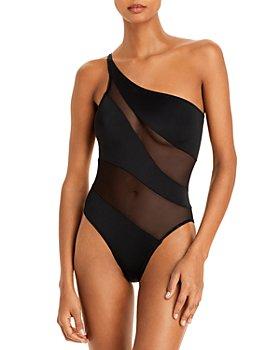 Norma Kamali - Illusion Mesh One Shoulder One Piece Swimsuit