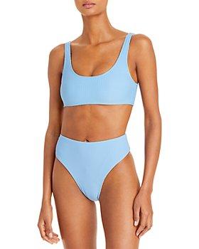 Frankies Bikinis - Conner Ribbed Bikini Top & Jenna Ribbed High Waist Bikini Bottom