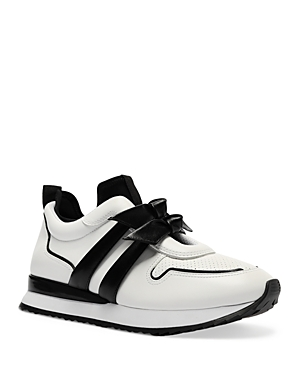Alexandre Birman Leathers WOMEN'S CLARITA JO DOUBLE BOW SLIP ON LEATHER SNEAKERS