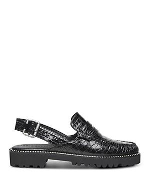 Women's Juana PF20 Almond Toe Embossed Leather Slingback Loafers