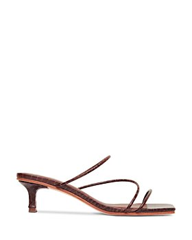 St. Agni - Women's Jackie Croc Embossed Kitten Heel Slide Sandals
