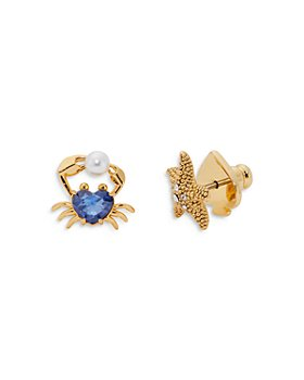 kate spade new york - Sea Star Blue Cubic Zirconia & Faux Pearl Crab Stud Earrings in 14K Gold Plate